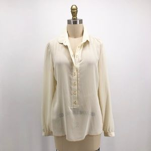 Vintage 1970s ST JOHN Sheer Button Pullover Blouse